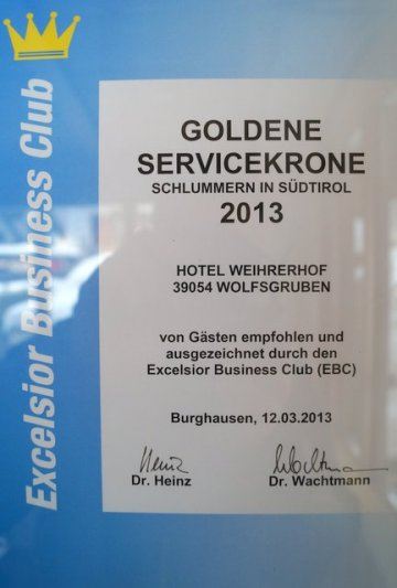The golden crown for service 2012 and 2013